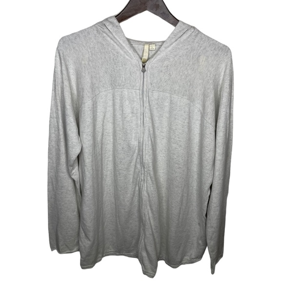Pure Jill Cashmere Blend Zip Cardigan Hood Sweater